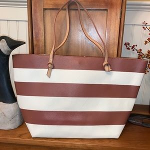 NEIMAN MARCUS Vegan Leather Striped Tote Bag